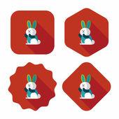 Králík ploché ikony s dlouhý stín, eps 10 — Stock vektor