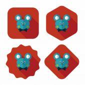 Teddy bear flat icon with long shadow — Stock Vector