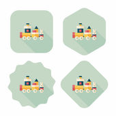 Train toy flat icon with long shadow, eps10 — Stock Vector
