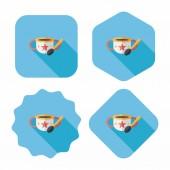 Baby essen schüssel flach icon mit langen schatten, eps10 — Stockvektor