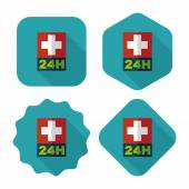 Hospitals 24 hours flat icon with long shadow — Stock Vector