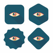 Eye flat icon with long shadow — Stock Vector