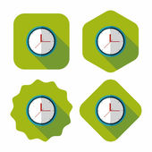 Clock flat icon with long shadow,eps10 — Stock Vector