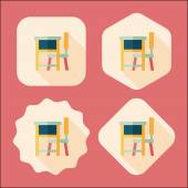 Vintage school desk flat icon with long shadow,eps10 — Stock Vector