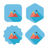 Mountain tourist flat icon with long shadow — Stockvector
