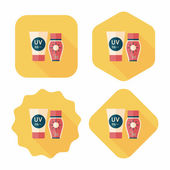 Sunscreen flat icon with long shadow — Stock Vector