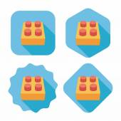Icona piatto di mattoncini giocattolo con lunga ombra, eps10 — Vettoriale Stock