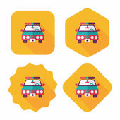 Transportation police car flat icon with long shadow,eps10 — Stock Vector