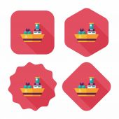Transportation Container ship flat icon with long shadow,eps10 — Stock Vector