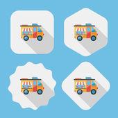Vervoer leverancier karren platte pictogram met lange schaduw, eps10 — Stockvector