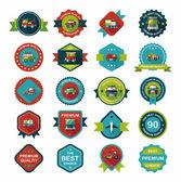 Transportation badge flat design background set, eps10 — Stockvektor