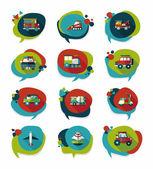 Transportation speech bubble flat design background set, eps10 — Stockvector
