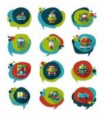 Transportation speech bubble flat design background set, eps10 — Stock Vector
