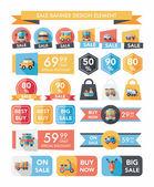 Transportation sale banner flat design background set, eps10 — Stock Vector