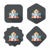 Building house flat icon with long shadow,eps10 — Stockvektor