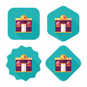 Building restaurant flat icon with long shadow,eps10 — Stockvektor