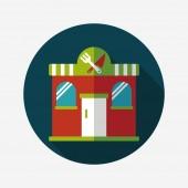 Building restaurant flat icon with long shadow,eps10 — Stok Vektör