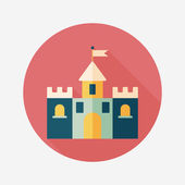 Building castle flat icon with long shadow,eps10 — Stockvektor