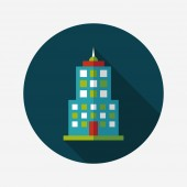 Commercial Building flat icon with long shadow,eps10 — Stockvektor