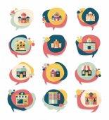 Building speech bubble flat design background set, eps10 — Stockvektor
