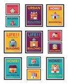 Building poster flat design background set, eps10 — Stock Vector
