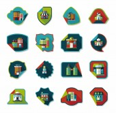 Building sticker flat design background set, eps10 — Stock Vector