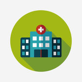 Building hospital flat icon with long shadow,eps10 — Vettoriale Stock
