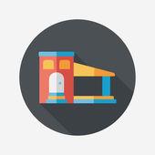 Bina uzun gölge, eps10 düz simgesiyle — Stok Vektör