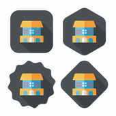 Building flat icon with long shadow,eps10 — Stockvektor
