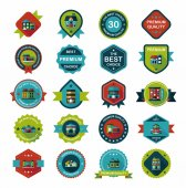 Building badge flat design background set, eps10 — 图库矢量图片