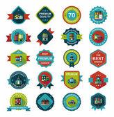 Building badge flat design background set, eps10 — Stock Vector