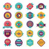 Building badge flat design background set, eps10 — Vecteur