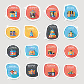 Building speech bubble flat design background set, eps10 — Stock Vector