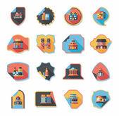 Building tag flat design background set, eps10 — Vetor de Stock