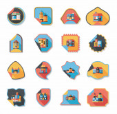 Building tag flat design background set, eps10 — ストックベクタ