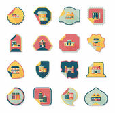 Building tag flat design background set, eps10 — Stock Vector