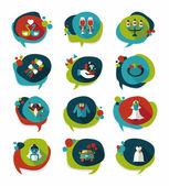 Wedding speech bubble flat design background set, eps10 — Stock Vector