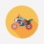 Transportation motorcycle flat icon with long shadow,eps10 — Stock Vector