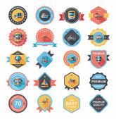 Transportation badge flat design background set, eps10 — Stock Vector