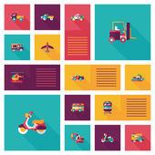 Transportation ui flat design background set, eps10 — Stock Vector