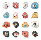 Wedding sticker flat design background set, eps10 — Wektor stockowy