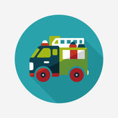 Transportation Fire truck flat icon with long shadow,eps10 — Stock Vector