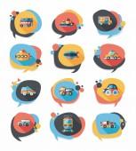 Transportation speech bubble flat design background set, eps10 — ストックベクタ