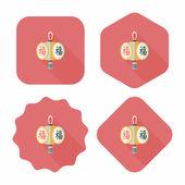 čínský nový rok plochý ikona s dlouhý stín, eps10, čínské nebo — Stock vektor