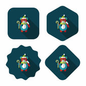 Christmas teddy bear flat icon with long shadow,eps10 — Stock Vector