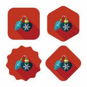 Christmas light bulb flat icon with long shadow,eps10 — Stock Vector