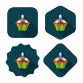Christmas cupcake flat icon with long shadow,eps10 — Stock Vector