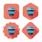 Takeaway coffee flat icon with long shadow,eps10 — Wektor stockowy