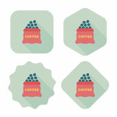 Coffee bean flat icon with long shadow,eps10 — Stockvektor