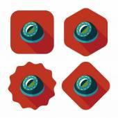 Icona piana di utensili da cucina timer con ombra lunga, eps10 — Vettoriale Stock